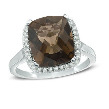 Cushion-Cut Smoky Quartz and 1/8 CT. T.W. Diamond Frame Ring in Sterling Silver - Size 7 - View All Rings - Zales