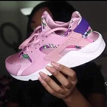 """""""NIKE""""AIR Huarache Running Sport Casual Shoes Sneakers floral Pink"""