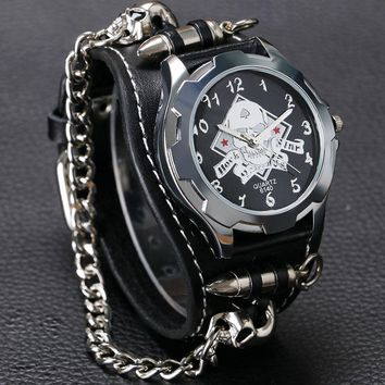 New Arrival Cool Bracelet Quartz Watch Wristwatch Skull Bullet Chain Gothic Style Analog Leather Strap Men Women Xmas Gift