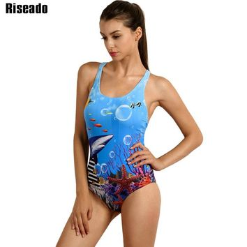 Riseado 2017 One Piece Swimsuit Sports Competition Swimwear Women Printed Backless Swimming Suit Summer Bathing Suits