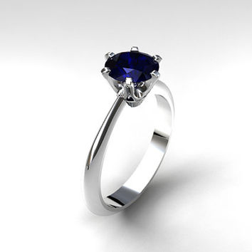 Blue sapphire engagement ring, white gold ring, solitaire engagement, unique, blue wedding ring, sapphire engagement, simple, gold wedding