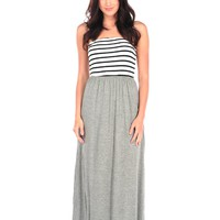 Vintage Havana Stripe Solid Maxi Dress