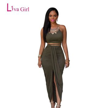 Liva Girl 2017 Front Opening Long Summer Dress Olive Green Suede 2 Piece Bandage Dress Women Skater Dress Bodycon Dresses
