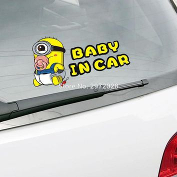 Lovely Cartoon Warning Car Styling Minions Despicable Me Baby in Car  Stickers Car Rear Windshield Trunk Body Decal Vinyl