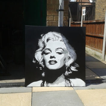 Marilyn Monroe painting,canvas,large,stencil art,spray paints,black & white,movie star,hollywood,iconic,pop art,street art,living,portrait,