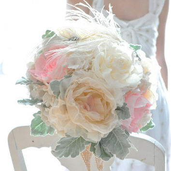 Peach, pink, shabby and chic paper flower wedding bouquet, READY TO SHIP, gray green dusty miller