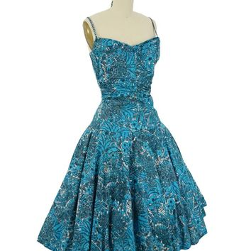 50s Novelty Floral Print Swing Dress