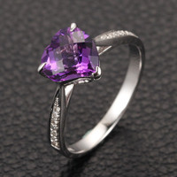 Heart Shaped Amethyst Engagement Ring Pave Diamond Wedding 14K White Gold 8mm Claw Prongs