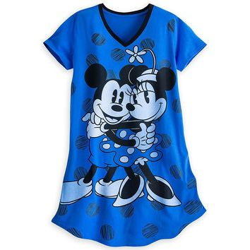 Licensed cool MICKEY & MINNIE MOUSE HUGGING Blue FITTED NIGHT SHIRT Disney Store Women M/L NEW