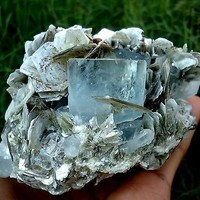 WOW 3160 CT COLLECTOR CHOICE Stunning Quality Sky Blue AQUAMARINE With Muscovite