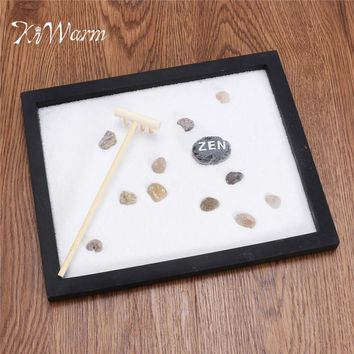 KiWarm Modern Zen Garden Sand Kit Tabletop Yoga Meditation Sand Rocks Rake Feng Shui Decor Home Ornament Crafts