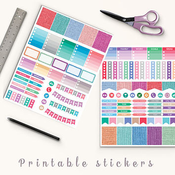 50% OFF Colorful Linen Stickers Printable Planner Stickers Erin Condren Box Stickers Page Flags Weekend Banners To Do Stickers Weekly Kit