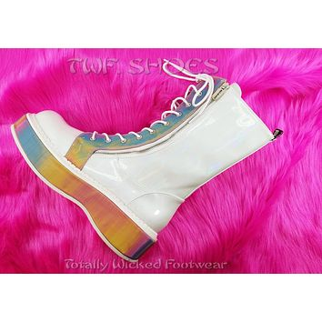 Emily 350 Goth White Brushed Patent Ankle Boot Rainbow Platform