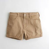 Girls High-Rise Twill Midi Shorts | Girls Bottoms | HollisterCo.com
