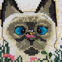 Bee Wildered Siamese Cat Cross Stitched by LessBtchMoreStitch