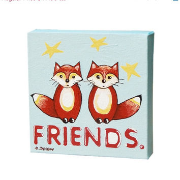 Red Fox Art Wall Decor, Best Friends Gift, Canvas Art Block, Original Fox Painting, Kids Room Decor 6x6x1.5