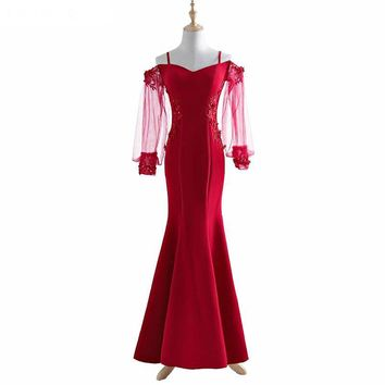 Evening Dress Sweetheart Satin With Beads Evening Dresses Mermaid Evening Dresses Long Sleeve