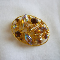 Multi Color Brooch Made in Austria, Austrian Crystal Pin Brooch