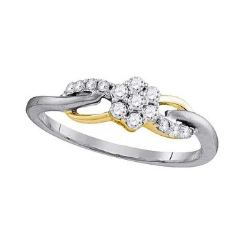 10kt White Gold Women's Round Diamond Flower Cluster Infinity Ring 1/4 Cttw - FREE Shipping (US/CAN)