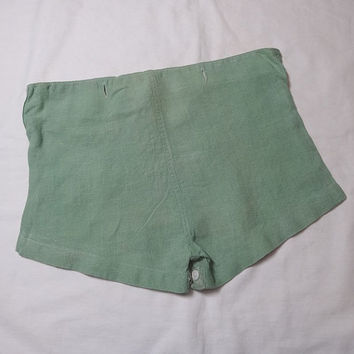 Vintage 1940s Boys' Green Linen Shorts with Button Crotch, Buttons to Top, NO Top, Vintage Children's Clothing, Vintage 1940s Boy's Fashion