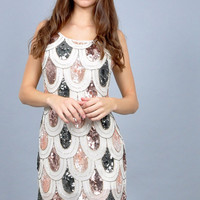 Vintage Inspired Scalloped Sequin Dress