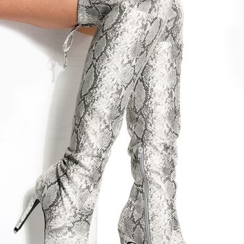 Grey Faux Snake Pointed Toe Thigh High Boots @ Cicihot Boots Catalog:women's winter boots,leather thigh high boots,black platform knee high boots,over the knee boots,Go Go boots,cowgirl boots,gladiator boots,womens dress boots,skirt boots.