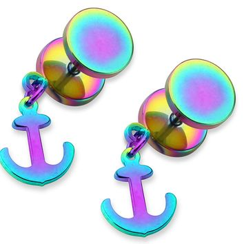 BodyJ4You Fake Plugs Anchor Dangle Rainbow Earrings 0G Gauge Look Illusion Jewelry