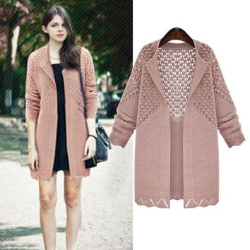 Spring Autumn Women  Hollow Out Flowere Fashion Crochet Sweater Knitted Solid Color Grace Sweet Lapel Cardigan
