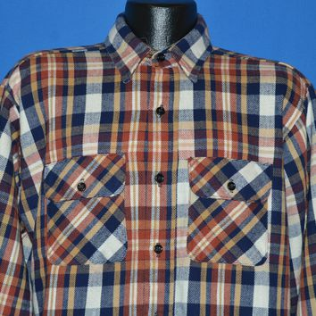 80s Five Brother Heavy Plaid Flannel Men's shirt Large