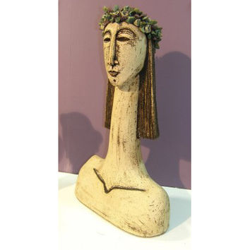 Ceramic Sculpture beautiful young woman with bust sculpture with long neck