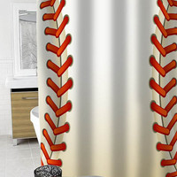 Baseball Texture Ball Custom Shower Curtain Funny Shower Curtain size 36x72,48x72,60x72,66x72