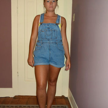 90s Short Overalls, 1990s Light Wash Cut-off dungarees