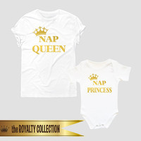 Nap Queen Nap princess shirts, Mother daughter matching tees, mom and baby shirts, mommy and me matching outfits