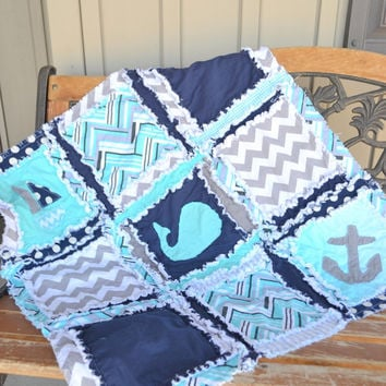 Crib Size RAG QUILT, Nautical, Chevron, and Polka Dot in Navy Blue and Aqua, Made to Order