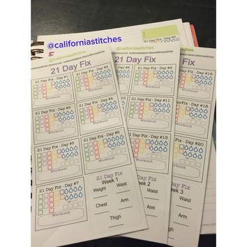 21 Day Fix | Planner Stickers | Diet | Track Progress