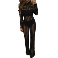 Sexy Black Jumpsuits Women Mesh Party Bodycon Rompers Long Sleeve Sheer See Through Bodysuit Clubwear Jumpsuit Outfits