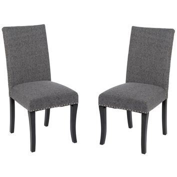 Accent Nail Side Chair In Charcoal Fabric (Set Of 2)