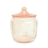 Pink Depression Glass Cookie or Biscuit Jar - Anchor Hocking Manhattan Jar, Different Lid - Shabby Cottage Chic - Vintage Home Decor