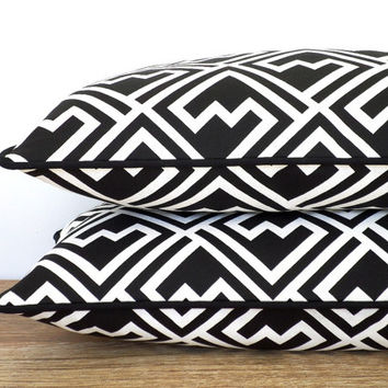 Black geometric pillow cover for desk chair, trellis lumbar case 20x12 dorm room decor, black and white throw pillow lattice pattern