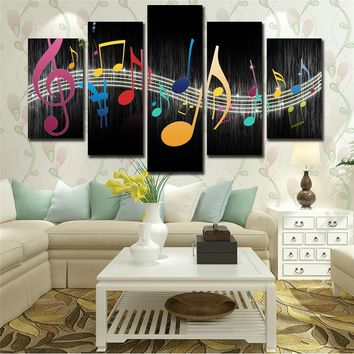 Wall Canvas Panel Modular Picture 5 Panel Music Musical Notes Modern Art Print