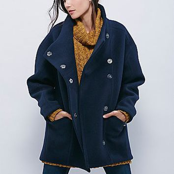 Free People Womens Boiled Wool Cocoon Coat