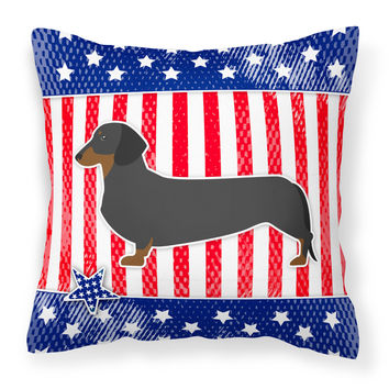 USA Patriotic Dachshund Fabric Decorative Pillow BB3282PW1818