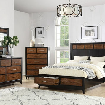 Poundex F9383Q-4PC 4 pc Moreland bamboo finish and dark espresso finish wood queen bed set