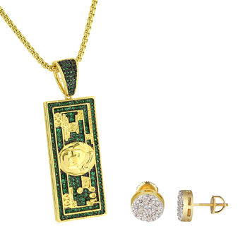 100 Dollar Bill Note Pendant Chain Green Simulated Diamond Cluster Earrings 9mm