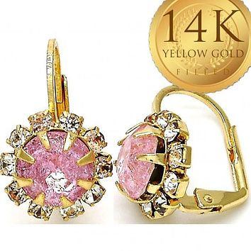 Gold Layered Women Flower Leverback Earring, with Pink Crystal, by Folks Jewelry