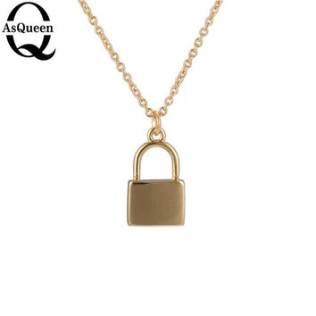 Long Necklaces & Pendants Lock Fashion Chain Collares Mujer Statement Necklace