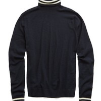 Italian Fine Merino Tipped Turtleneck in Navy