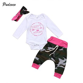 Pudcoco Newborn Kid Baby Girl Camouflage Clothes Jumpsuit Romper Bodysuit Pants Headband 3PCS Outfits Children Clothing Set