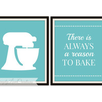 Modern Kitchen Wall Art Prints - There is always a Reason to Bake Quote - Set of 2 Modern Dining Room - Kitchen Art - Housewarming Gift