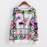 New Fashion Womens And Girls White Long Sleeve Graphic printed Crew Sweatshirt hoodies Tops Outwear (Color: Multicolor) = 1931839876